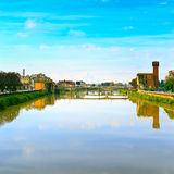 Pisa, Arno river and bridge. Lungarno view. Tuscany, Italy Stock Photo