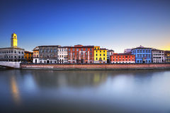 Pisa, Arno river Lungarno view. Tuscany, Italy Royalty Free Stock Photo
