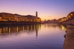 Pisa, Arno river, Ponte di Mezzo bridge. Lungarno sunset view. T. Uscany, Italy, Europe Royalty Free Stock Image