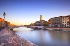 Pisa, Arno river, Ponte di Mezzo bridge. Lungarno view. Tuscany, Royalty Free Stock Images