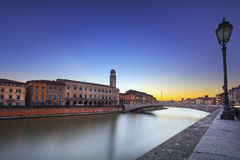 Pisa, Arno river, Ponte di Mezzo bridge. Lungarno view. Tuscany, Royalty Free Stock Photography