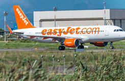 PISA - AUGUST 25, 2015: Easyjet flight in Galilei airport. Easyj Stock Photography