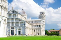 Pisa Baptistery Battistero, Pisa Cathedral Duomo Cattedrale and Leaning Tower Torre royalty free stock image