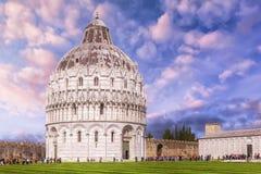Pisa Baptistery of St. John in the Piazza dei Miracoli near the. Duomo di Pisa, Tuscany, Italy stock photos