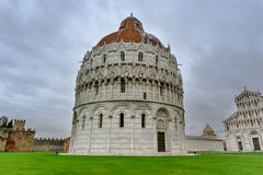 Pisa Baptistry. Baptistry in Pisa at the famous Cathedral Square Stock Photos