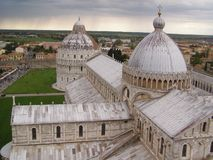 Pisa, Campo dei miracoli. Pisa, the cathedral and baptistery seen from the leaning tower Royalty Free Stock Photo