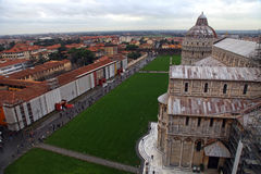 The Pisa Cathedral as seen from the top of the Leaning Tower of Pisa Stock Photos