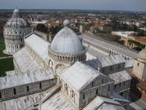 Pisa Cathedral and the Baptistry of St. John. From the top of the leaning tower Stock Images