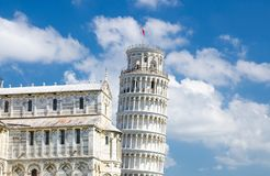 Pisa Cathedral Duomo Cattedrale and Leaning Tower Torre on Piazza del Miracoli square royalty free stock photography