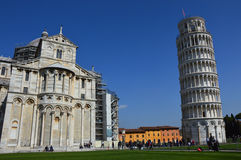 Pisa Cathedral Duomo di Pisa with the Leaning Tower of Pisa on Piazza dei Miracoli in Pisa, Tuscany, Italy Royalty Free Stock Image