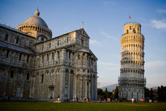 Pisa Cathedral Italy. The Tower of Pisa is the bell tower of the Cathedral. both because of its inclination, and its beauty, from 1173 up to the present the Stock Photos