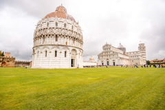 Pisa cathedral with leaning tower in Italy Stock Images
