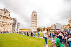Pisa cathedral with leaning tower in Italy Royalty Free Stock Image