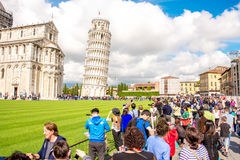 Pisa cathedral with leaning tower in Italy Stock Photos