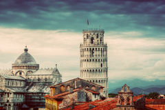 Pisa Cathedral with the Leaning Tower panorama. Unique rooftop view. Stock Photos