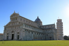 Pisa cathedral, with the Leaning Tower of Pisa in Italy Stock Photos