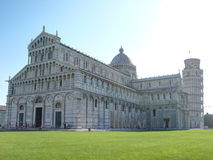 Pisa Cathedral with the Leaning Tower of Pisa on morning Royalty Free Stock Image