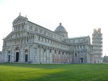 Pisa Cathedral with the Leaning Tower of Pisa on morning Royalty Free Stock Images