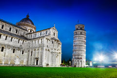 Pisa Cathedral with the Leaning Tower of Pisa, Tuscany, Italy at night Royalty Free Stock Photography