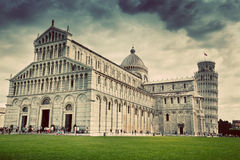 Pisa Cathedral with the Leaning Tower of Pisa, Tuscany, Italy. Vintage Stock Photos
