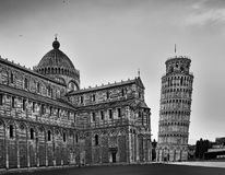 Pisa Cathedral Tower Close BW Stock Photos