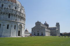 Pisa cathedral and tower. Pisa - famous tower and cathedral. Romanesque stock photos