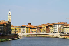 Pisa cityscape. View on houses along Arno river in Pisa, Italy Stock Photography
