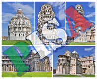 Pisa collage photos Stock Photos