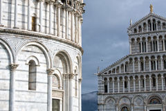 Pisa dome and leaning tower close up detail view Royalty Free Stock Photography