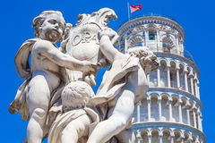 Pisa Duomo and The Fountain with Angels in Pisa Royalty Free Stock Photo