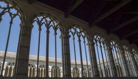 Pisa - gothic windows in  the monumental cemetery. Stock Photo