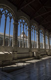 Pisa - gothic windows in  the monumental cemetery. Stock Photos
