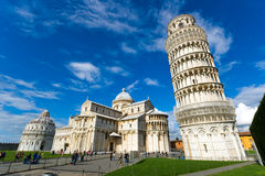 Pisa, Italy. Piazza dei miracoli, with the Basilica and the leaning tower. Pisa, Italy Stock Image