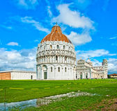 Pisa - Italy: Baptistery, Cathedral, and Leaning Tower Stock Images