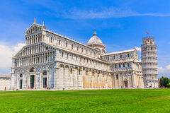 Pisa, Italy. Cathedral and the Leaning Tower in Piazza dei Miracoli Square of Miracles stock image