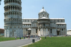 Pisa, Italy, 18 July 2006: Tourists visiting the leaning Tower a Stock Photos