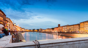 Pisa, Italy. Lungarno Mediceo and Galilei at dusk during Luminar Stock Images