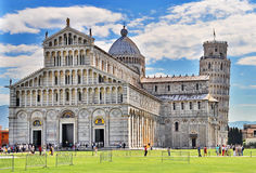 Pisa, Italy. Piazza dei miracoli, with the Basilica and the leaning tower in Pisa, Italy Royalty Free Stock Photography