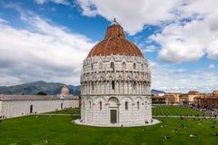 Pisa, Italy: Piazza del Duomo or Pza dei Miracoli Square of Miracles, and Baptistery of St John Battistero di San Giovanni
