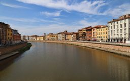 Buildings along the Arno river in Pisa, Italy Royalty Free Stock Photography