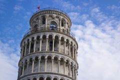 PISA, Italy - SEPTEMBER 7, 2016. Leaning Tower Pisa. The top of. The tower Stock Photo
