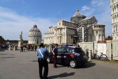 Police patrolling at the Pisa monuments in Pisa, Italy Stock Photos