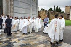 Priests at Pisa Cathedral. Pisa. Italy. Pisa, Italy - September 23, 2018: Priests at Pisa Cathedra, or Duomo di Santa Maria Assunta stock photography