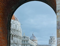 Pisa-Kathedrale mit dem lehnenden Turm von Pisa (Italien) Lizenzfreies Stockfoto