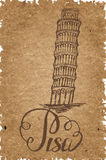 Pisa label with hand drawn Leaning tower of Pisa, lettering Pisa on a craft paper Stock Photos