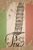 Pisa label with hand drawn Leaning tower of Pisa, lettering Pisa and italian flag Royalty Free Stock Photos
