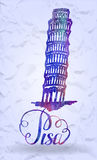 Pisa label with hand drawn Leaning tower of Pisa, lettering Pisa with watercolor fill Royalty Free Stock Photography