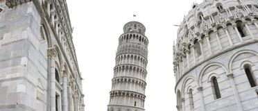 Pisa leaning tower. Original view of Pisa leaning tower and other monuments, Italy Royalty Free Stock Photo