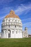 Pisa Leaning tower ad Baptistery in Italy in summer Royalty Free Stock Image