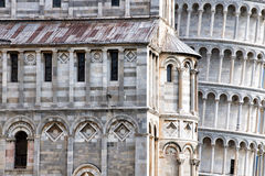 Pisa leaning tower close up detail view Stock Photos
